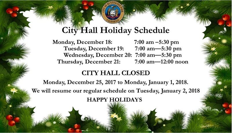 Holiday Schedule 2017 English