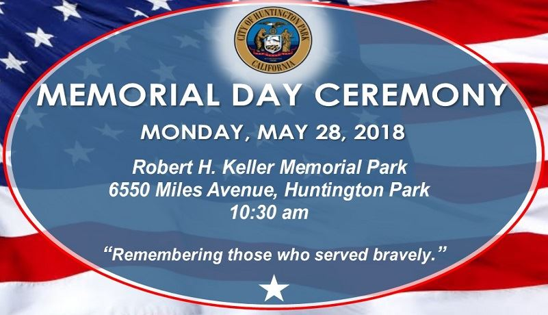 Memorial Day Ceremony May 28